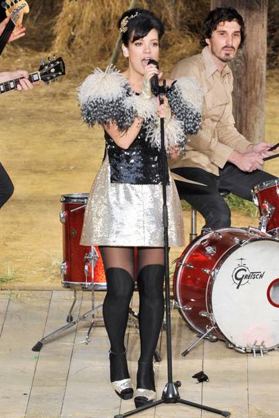 Lily Allen performing live at Chanel