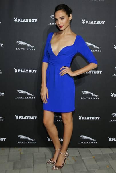 blue dress with leopard print shoes