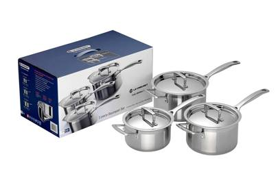 Best cookware sets: three-piece saucepan set