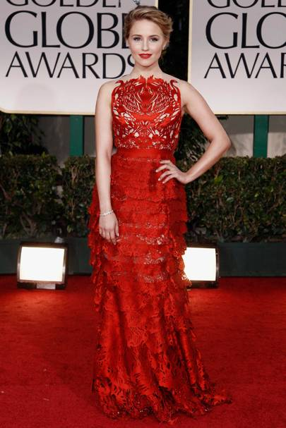 Dianna Agron at the Golden Globes 2012