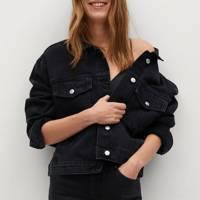 Mango Sustainable Denim Collection: the black denim jacket