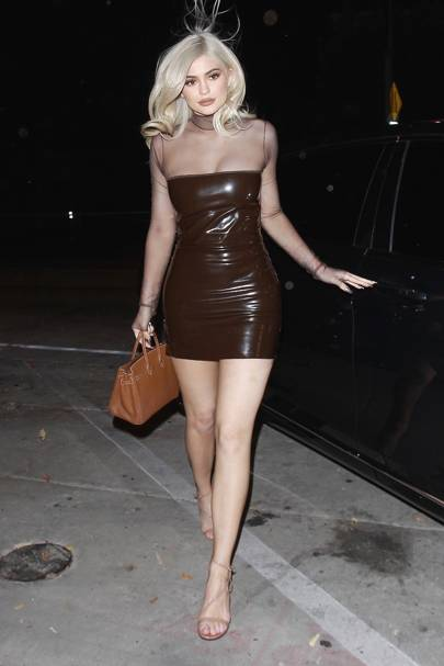 Hot women in latex skirt