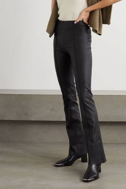 Leather trousers: the flared pair