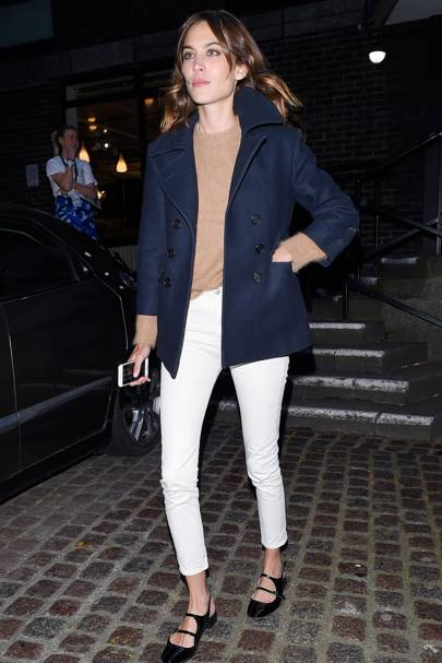 18a636f979c Alexa Chung  best dressed - white jeans navy coat outfit