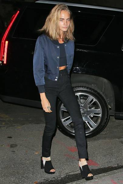 885d78f77bdb Cara Delevingne was out in New York with pal Taylor Swift wearing a blue  bomber jacket