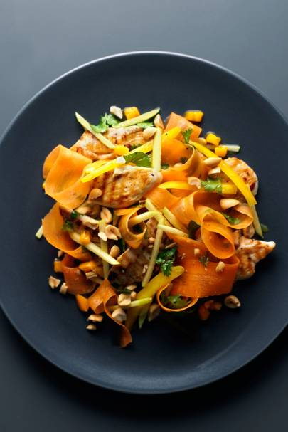 Chargrilled Chicken, Carrot & Peanut Salad With Sweet Mango Dressing