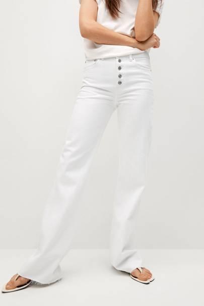 Wide leg white jeans