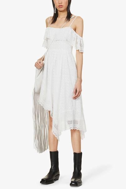 Best White Bridesmaid Dresses - Ruffled Trim