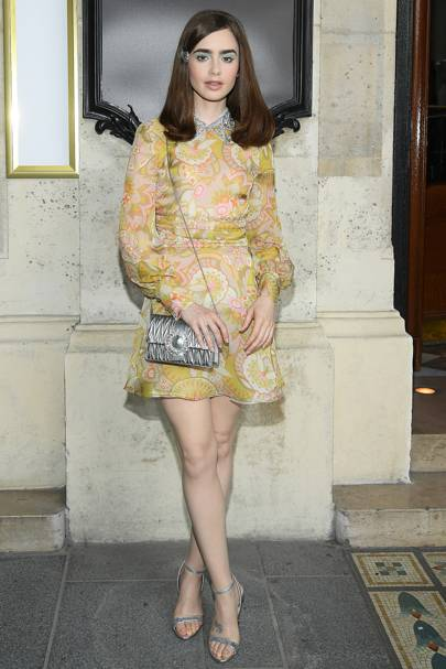 94fcc104aa8 The actress once again proved her style credentials at the Miu Miu fashion  show in a retro mini dress with an embellished peter pan collar and a  silver ...