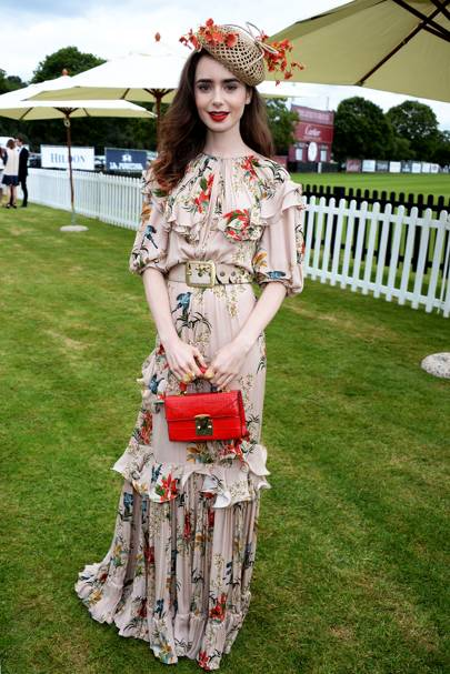 a2e6e0566f7 Lily looked like a true English rose at the Cartier Queen s Cup Polo in a  floor-length Johanna Artiz gown paired with a stunning Stephen Jones head  piece ...