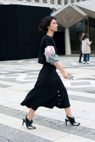 Pair heels with a midi skirt