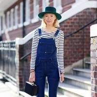 With dungarees