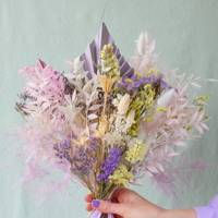 Dried ruscus, palms, bunny tails and limonium