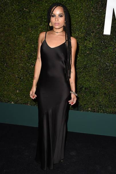 Zoe Kravitz Adds A Grungy Edge To Her Slinky Slip By Having Braided Hair Hang Loose And Dark Smoky Eyes Glamorous In The Coolest Of Ways