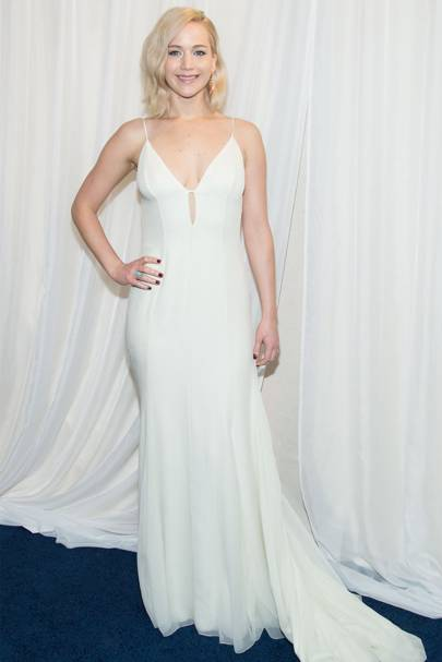 a7707e7a6f Jennifer Lawrence opted for this chiffon spaghetti-strap for the New York  premiere of Joy. We love how it grazes her hips, giving the hint of a curve  – and ...