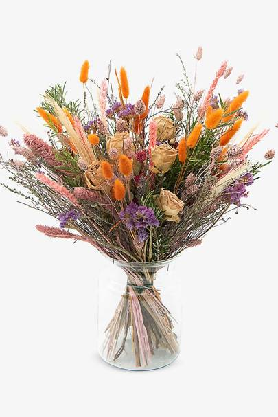 Dried flower bouquet: rosemary, thyme, roses, phalaris