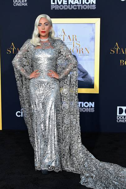 4f7a4530d434 Lady Gaga dazzled at the A Star Is Born premiere in this epic Givenchy  glittering gown. Talk about shining on the red carpet!
