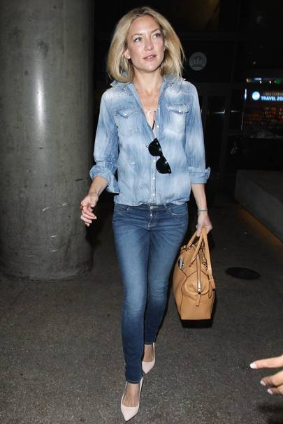 644245c912 Kate Hudson looks picture perfect teaming her double denim combo with  simple pumps and a neutral tote. When double denims done right