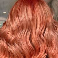 Metallic peach hair