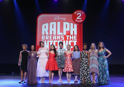 L-R: The voices of Belle, Pocahontas, Rapunzel, Moana, Vanellope, Anna, Merida, Jasmine and Ariel