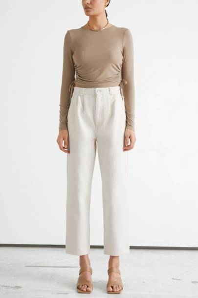 Pleated white jeans