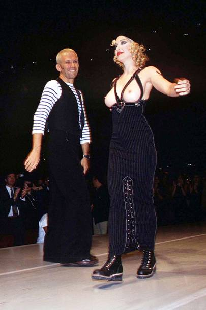 Madonna modelling at Jean Paul Gaultier