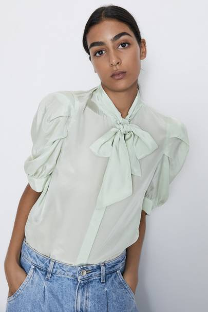 The mint green blouse