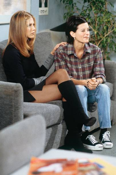 Monica's check shirt & Rachel's knee-high boots