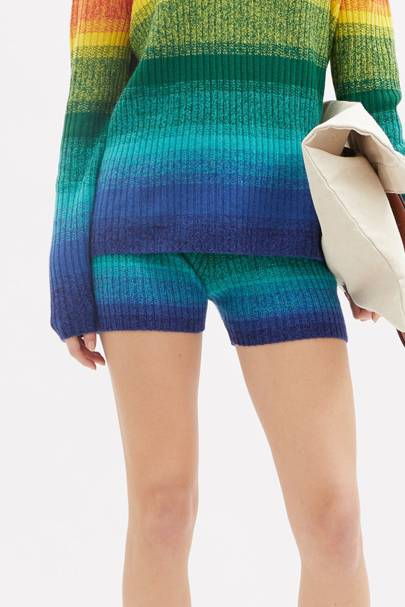 Striped knitted shorts