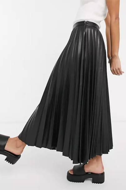 BEST PLEATED SKIRTS: FAUX LEATHER