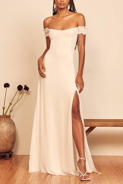 Off-the-shoulder high street wedding dresses