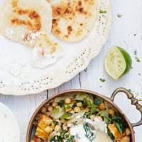 Lime & Coconut Chickpea Curry with Coconut Flatbreads