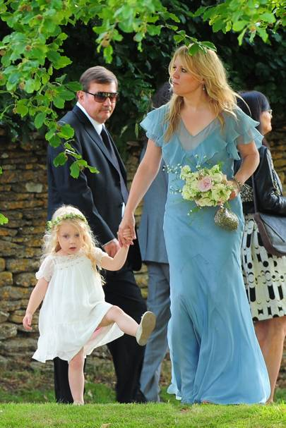 The flower girl and maid of honour arrive for Kate Moss' wedding
