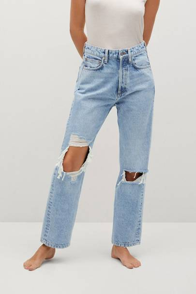 Best High-Waisted Jeans UK With Rips: Mango