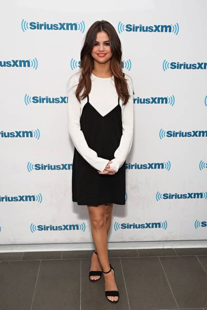 Selena Looks Stunning In A Minimalistic Victor Glemaud Dress And Heeled Sandals