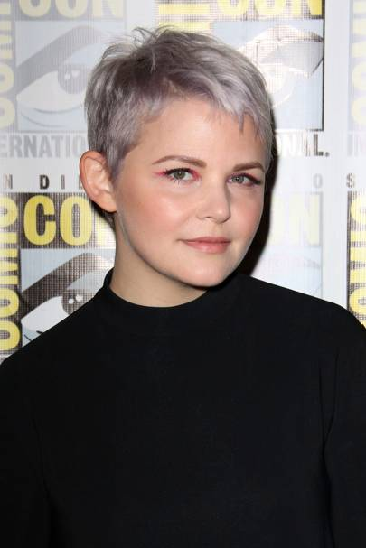 Ginnifer Goodwin's grey pixie crop & pink eyes