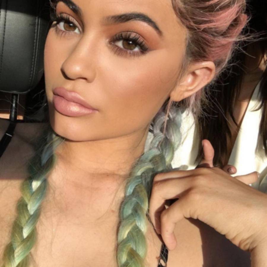 Rainbow Hair Braids & Braids Ideas; Kylie Jenner Pigtail Braids In  Different Colours  Glamour Uk