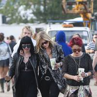 Kate Moss and Jamie Winstone at Glastonbury