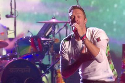 Chris Martin got sweaty
