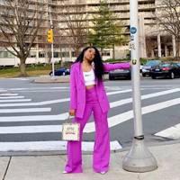 Purple Wide Leg Trouser by Trouser9