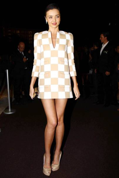 2ecd94d34b Louis Vuitton's chessboard inspired collection in late 2012, saw a whole  host of stars don the now-iconic print and Miranda proved how an all-over  statement ...