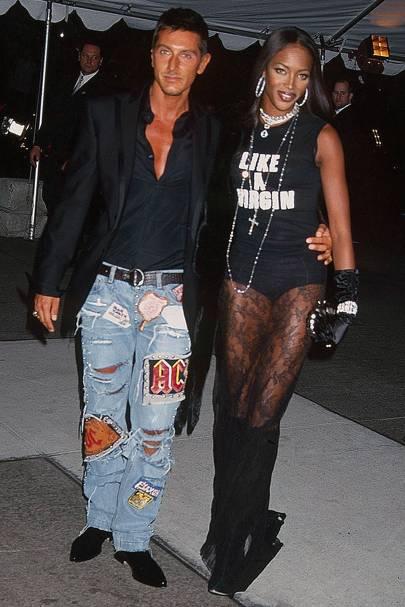 Naomi Campbell and Stefano Gabanna, 2001
