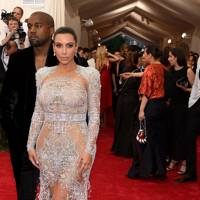 Kim Kardashian wearing Roberto Cavalli at the Met Gala