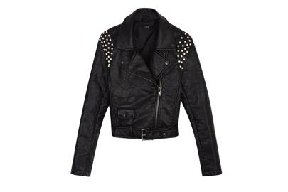 Beaded leather jacket