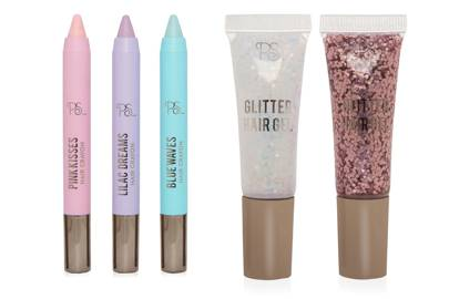 Primark hair crayons and glitters,