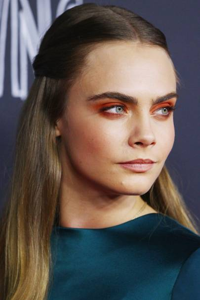 Cara Delevingne's orange eyeshadow