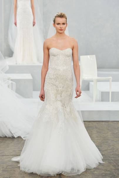 Meghan markles wedding dress which designer will she choose perhaps meghan markle will go for this beautiful monique lhuillier wedding dress strapless and with a fishtail hem we think shed look stunning wearing junglespirit