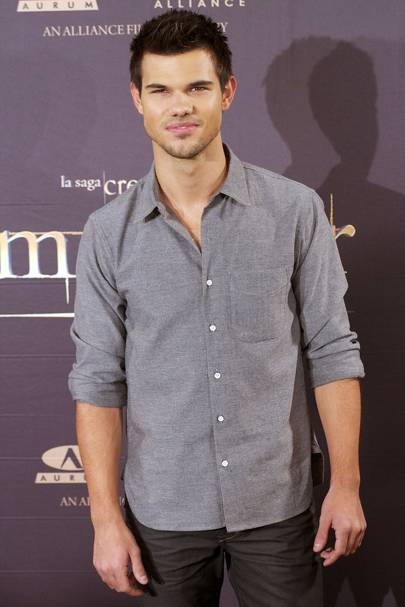 Taylor Lautner at a photocall in Madrid