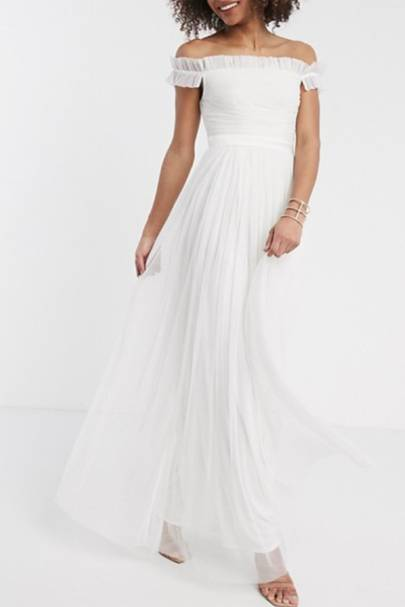 Best ASOS wedding dress with bardot sleeves