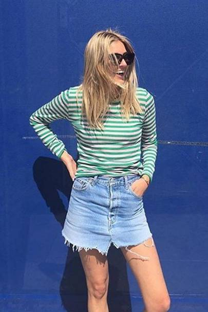 Fray the hem of your denim mini skirt